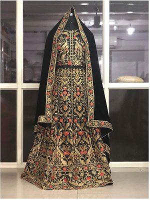 Buy Taffeta Silk Black Heavy Replica Lehenga Choli