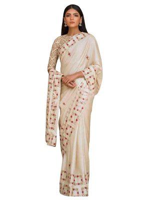 Buy Silk White Bollywood Replica Saree