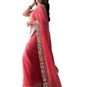 Madhuri Dixit Georgette Pink Replica Saree