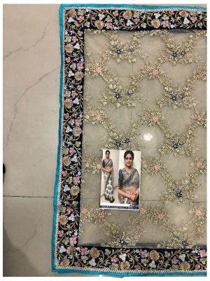 Sridevi Nylon Net With Banglori Silk Cream & Off White Replica Saree