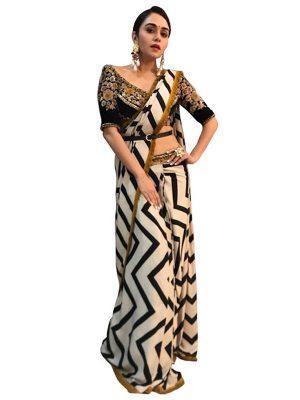 Buy Georgette Black & White Replica Saree