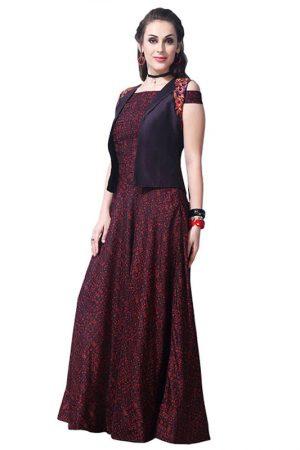 Buy Chanderi Cotton Wine Replica Long Gown