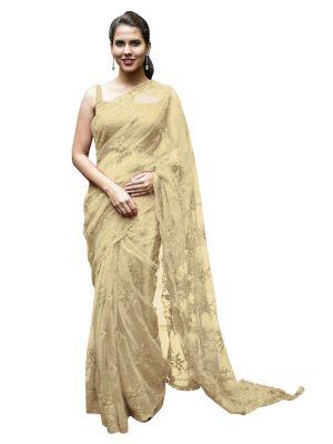 Buy Nylon Net Yellow Replica Saree