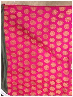 Buy Silk Jacquard Gray & Pink Replica Saree