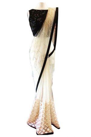 Buy Nylon Net Off White & Black Bollywood Replica Saree