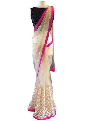 Buy Nylon Net Off White & Pink Bollywood Replica Saree