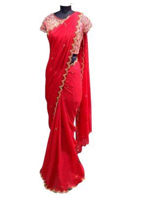 Buy Chiffon Georgette Red Replica Saree