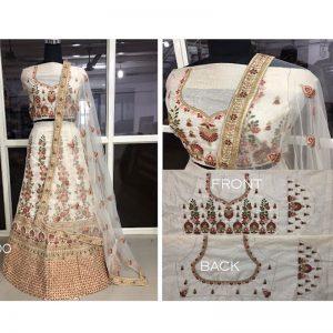 Buy Banglori Silk White Replica Lehenga Choli