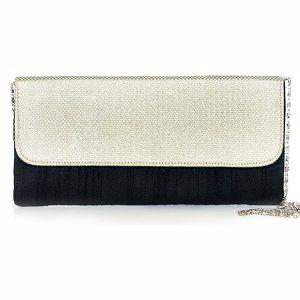 Black Color Shimmer Flap Cluch
