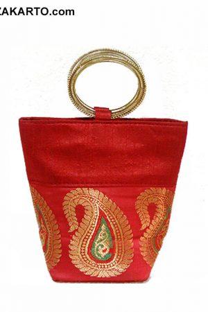 Red Color Art Silk Basket Clutch