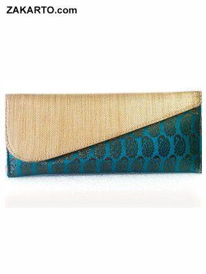 Turquoise Color Handwork Envelope Clutch