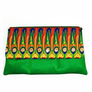 Green color Handwork Clutch