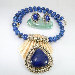 Lapiz Lazuli stone Bridal Partyware Silver Set
