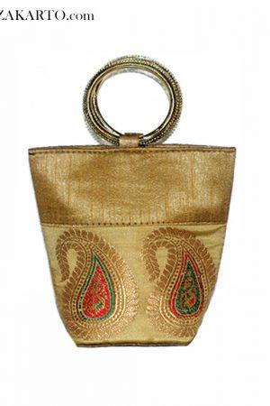 Brocade basket clutch purse
