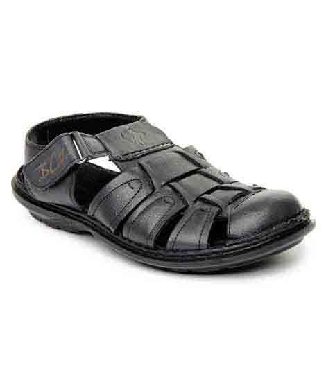 Solomon Black Leather Casual Sandal