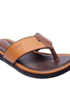 Comfirox Tan Leather Casual Flip Flops
