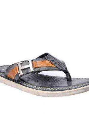 Caleb Black Leather Casual Flip Flops