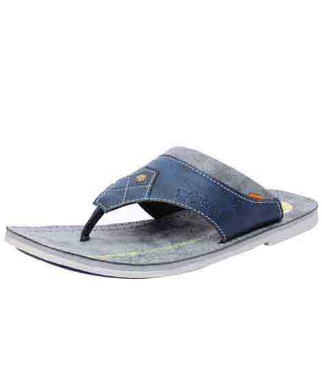 Garett Blue Leather Casual Flip Flops
