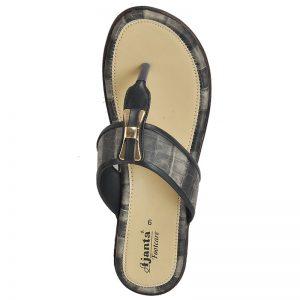 Women's Black & Beige Colour PU Synthetic Sandals