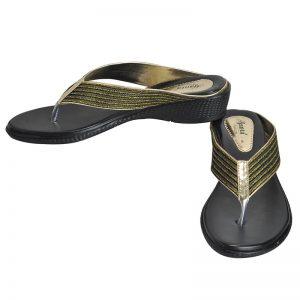 Women's Black & Gold Colour PU Synthetic Sandals
