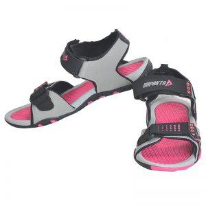 Women's Black & Pink Colour Polyester Sandals