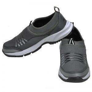 Men's Grey & White Colour Canvas Canvas Shoes