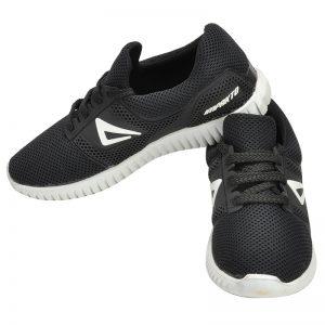 Men's Black & White Colour Synthetic Mesh Sneakers