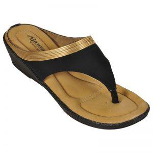 Women's Black Colour Suede Leather Sandals