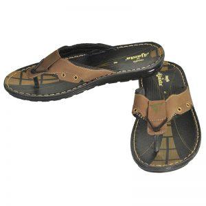 Men's Black & Brown Colour PU Flip Flops
