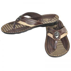 Men's Brown Colour PU Flip Flops