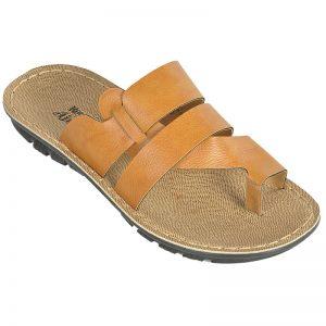 Men's Tan & Yellow Colour PU Sandals