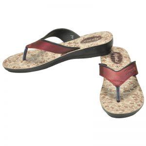 Women's Maroon & Black Colour Synthetic Sandals