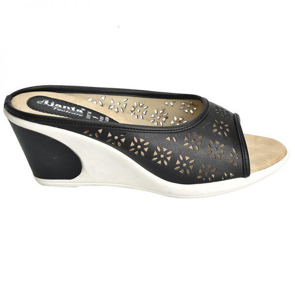 Women's Black & Beige Colour Synthetic Leather Sandals