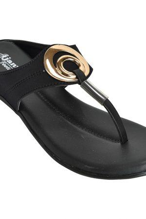 Women's Black Colour Synthetic Leather Sandals
