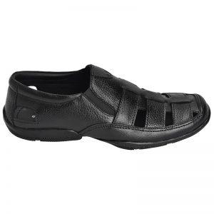Men's Black Colour Synthetic Leather Peshawari Sandals