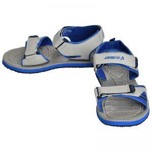 Men's Grey & Blue Colour Synthetic Leather Sandals