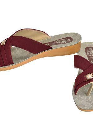 Women's Maroon & Beige Colour Fabric & Lycra Sandals