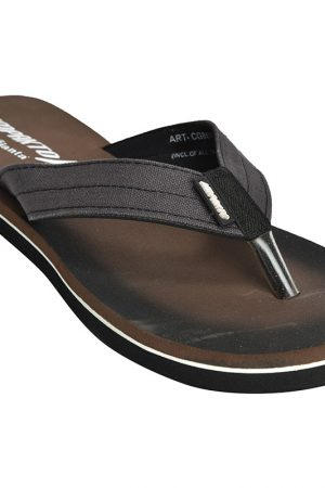 Men's Brown Colour Canvas Flip Flops