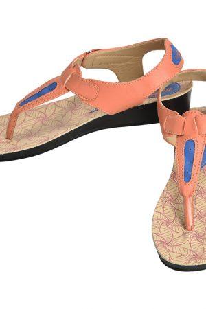 Women's Orange & Beige Colour Synthetic Leather Sandals