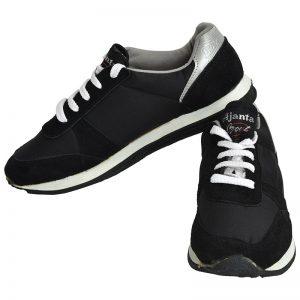 Men's Black Colour Fabric & Lycra Sneakers