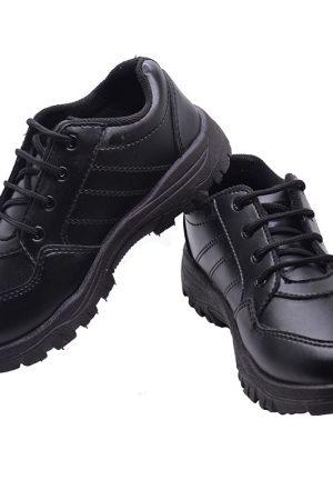 Kid's Black Colour Artificial Leather School Shoes