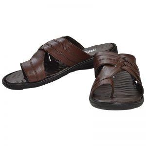 Men's Black & Brown Colour Synthetic Leather Sandals