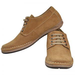 Men's Beige Colour Leather Derby Boots