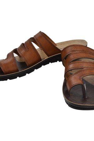 Men's Tan Colour Synthetic Leather Sandals