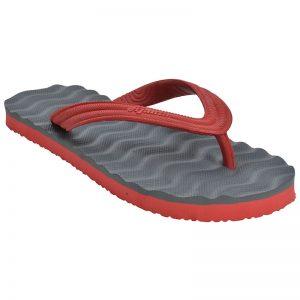 Women's Grey & Red Colour Rubber Sandals