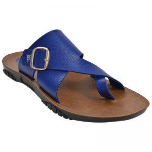 Men's Blue & Brown Colour Synthetic Leather Sandals
