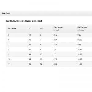 Men Kolhapuri Chappal Size Chart