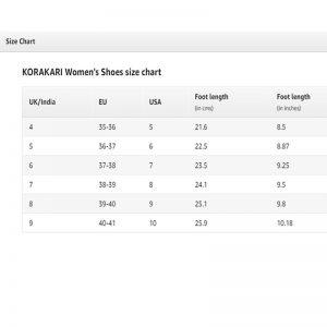 Women Kolhapuri Chappal Size Chart