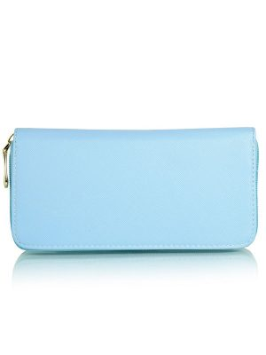 Blue Color Zip Clutch