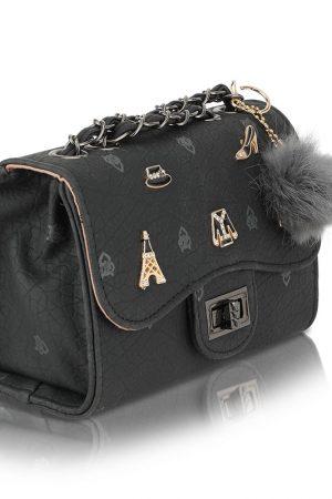 Black Color Turn Lock Sling Bag